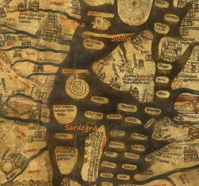 Mappa di Hereford: la porzione con Roma, Sicilia e Sardegna