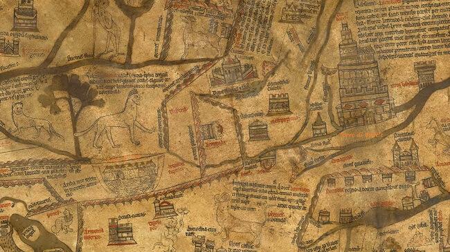 Mappa di Hereford: la porzione con la Torre di Babele e l'Arca di Noè