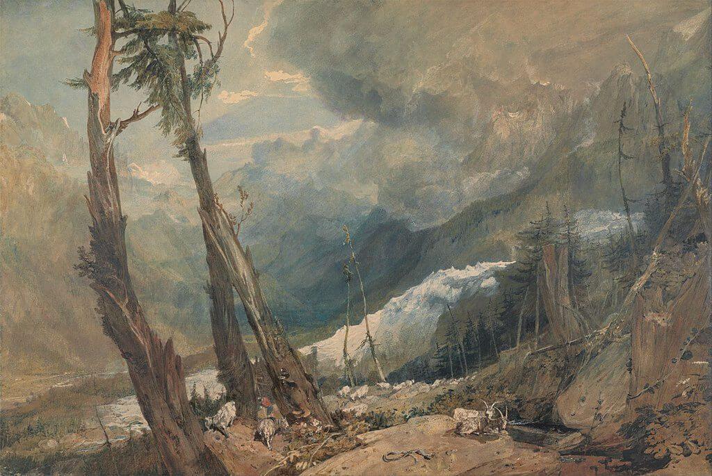 Immagine suggestiva della Mer de Glace, dipinto di Turner, 1803