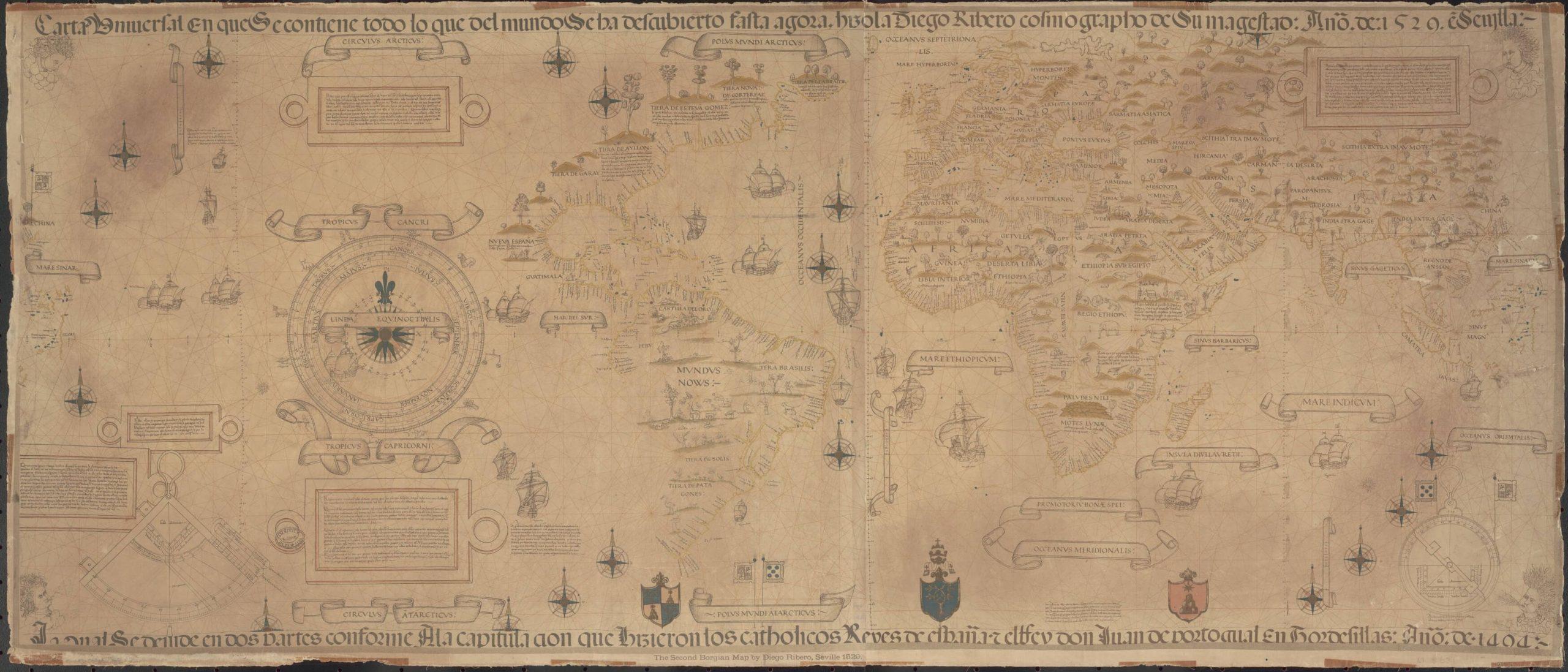 Planisfero di Diego Ribeiro (1529), la più antica mappa mondiale