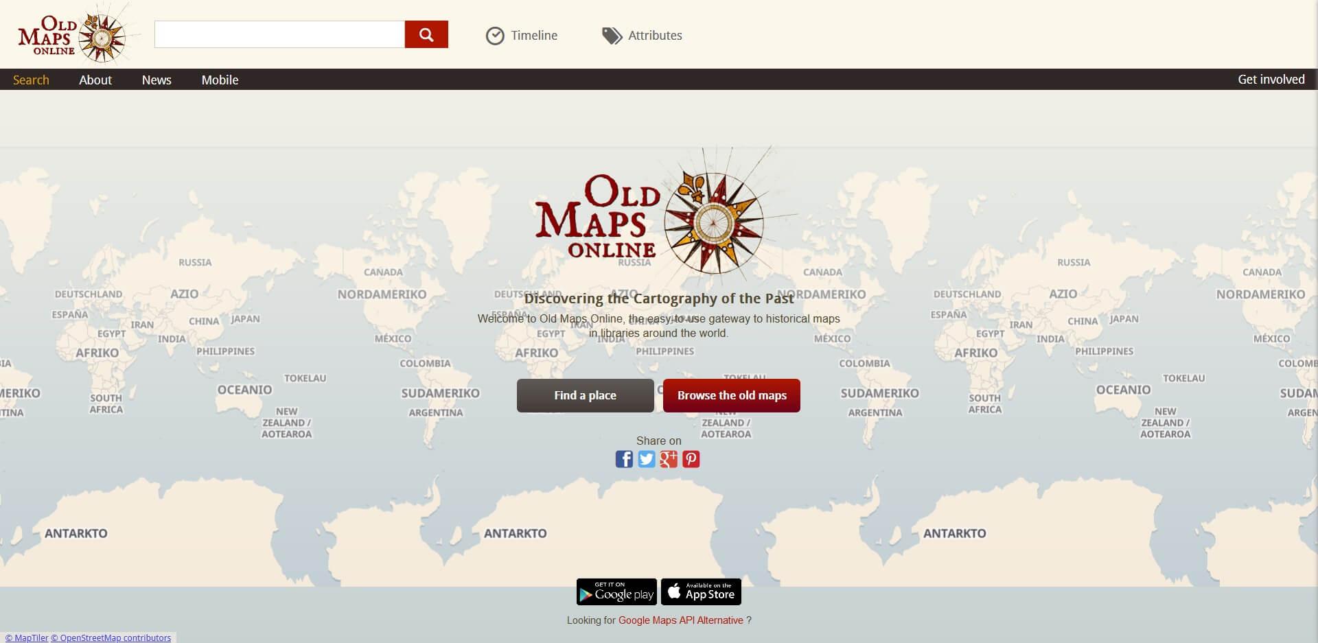 Home page di OldMapsOnline.org, specializzato in mappe antiche