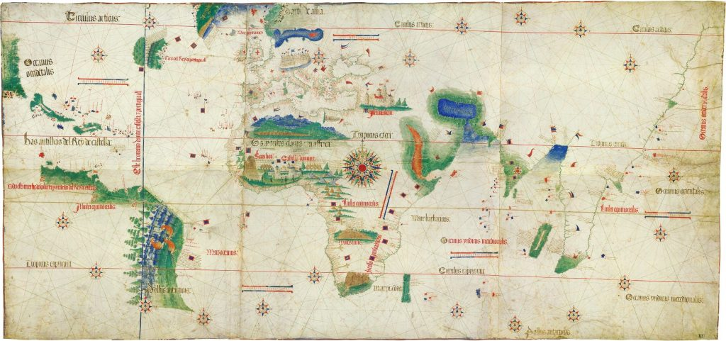 Planisfero di Cantino: la prima carta geografica antica a rappresentare il Nuovo Mondo come territorio a sé stante