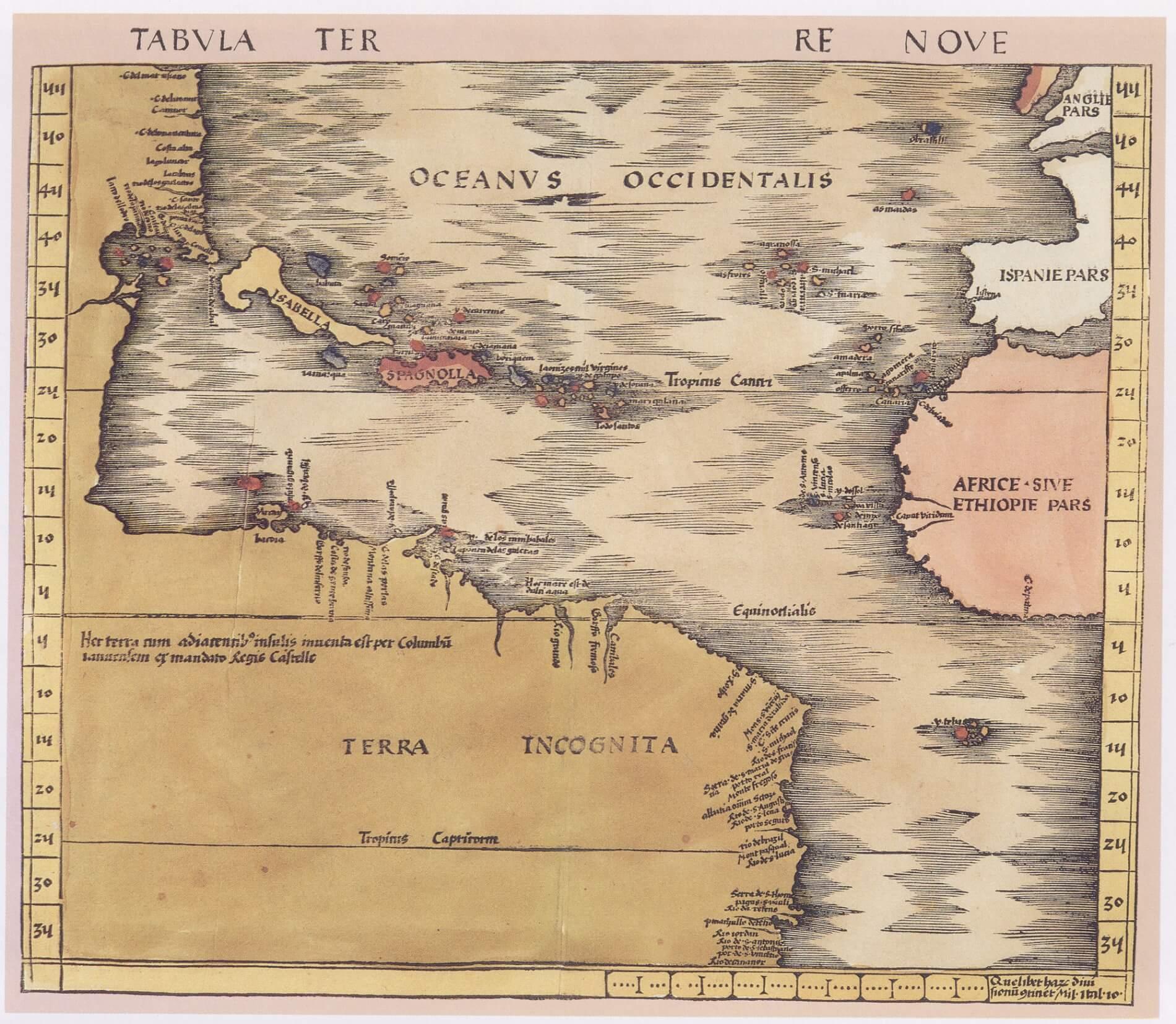 Tabula Terre Nove, un'antica carta geografica dedicata al Nuovo Mondo