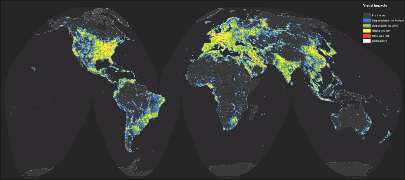 Mappa  mondiale dell'inquinamento luminoso