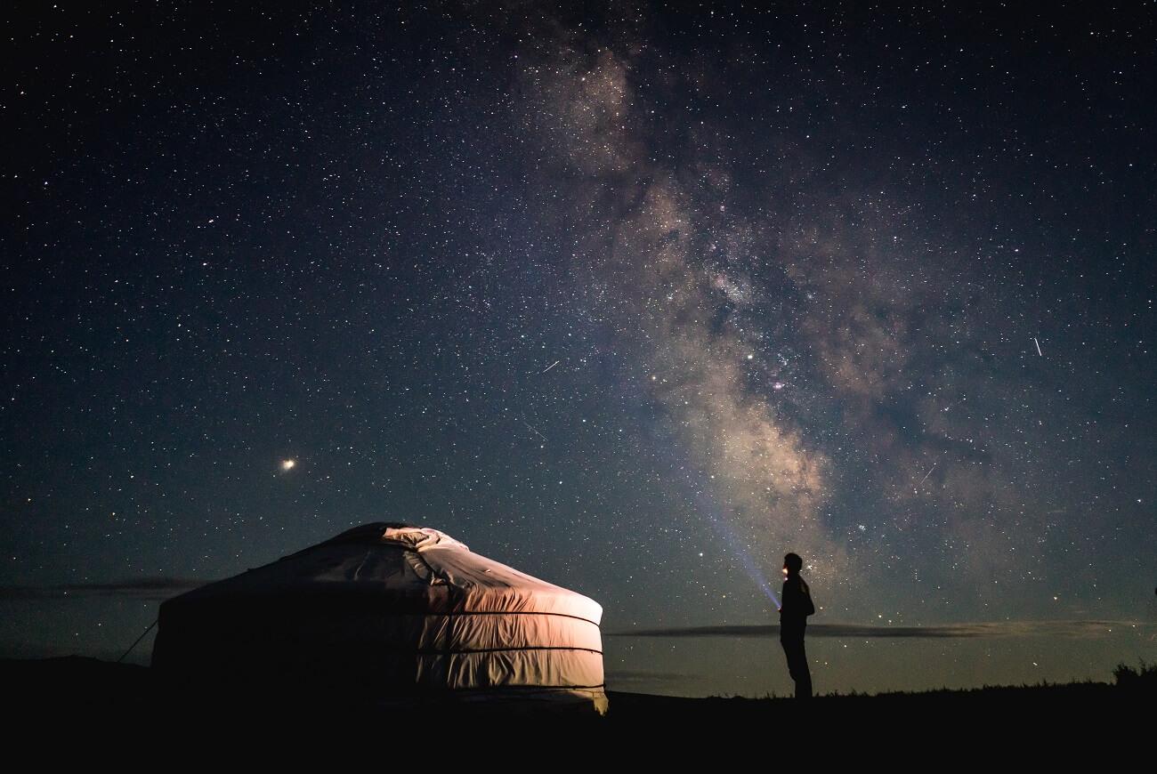 Un cielo stellato in Mongolia
