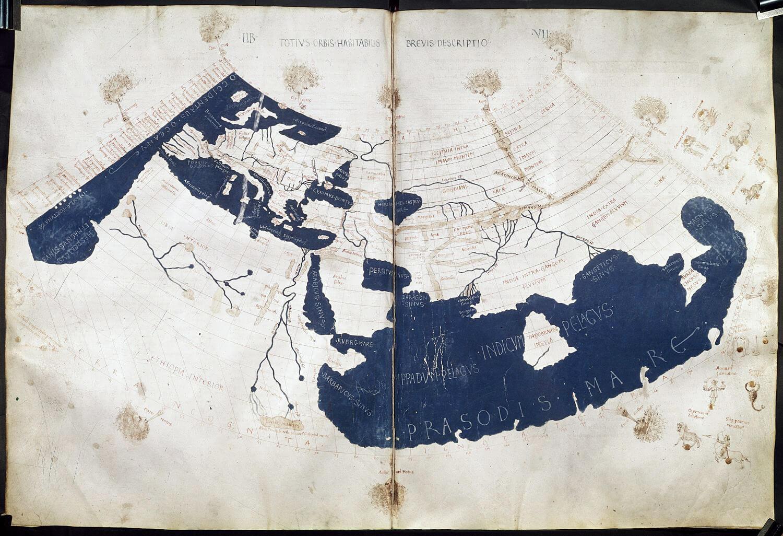 Una copia del XV secolo dell'antico planisfero di Tolomeo