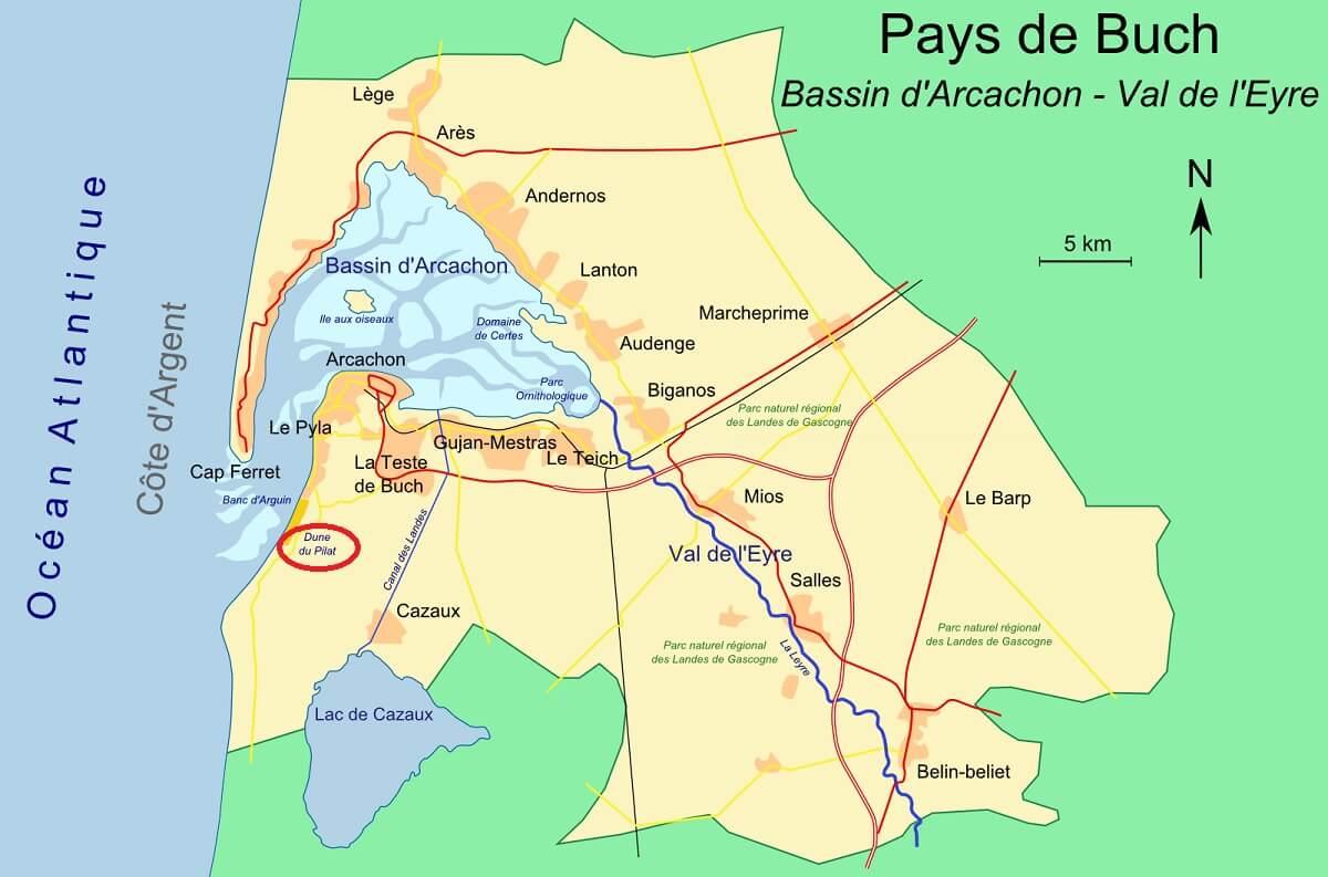 Mappa della duna di Pilat e del bacino di Arcachon