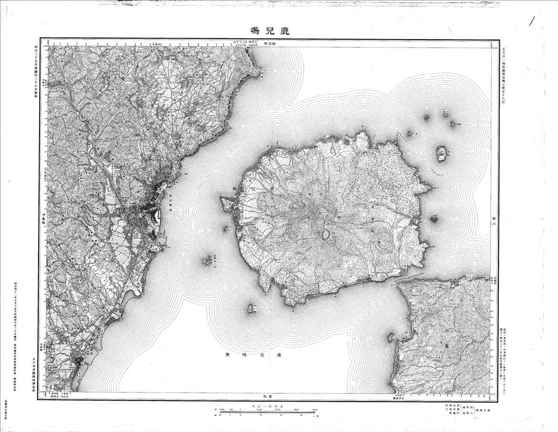 Mappa di Sakurajima del 1909, quando era ancora un'isola