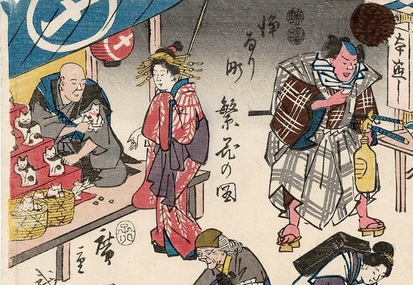 Stampa di Hiroshige che mostra la presenza del maneki neko già in periodo Edo