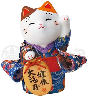Maneki neko con kimono blu