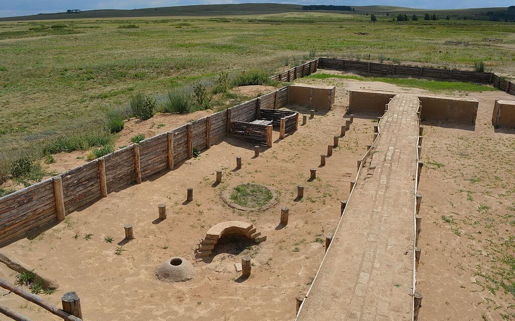 Una porzione del sito archeologico di Arkaim