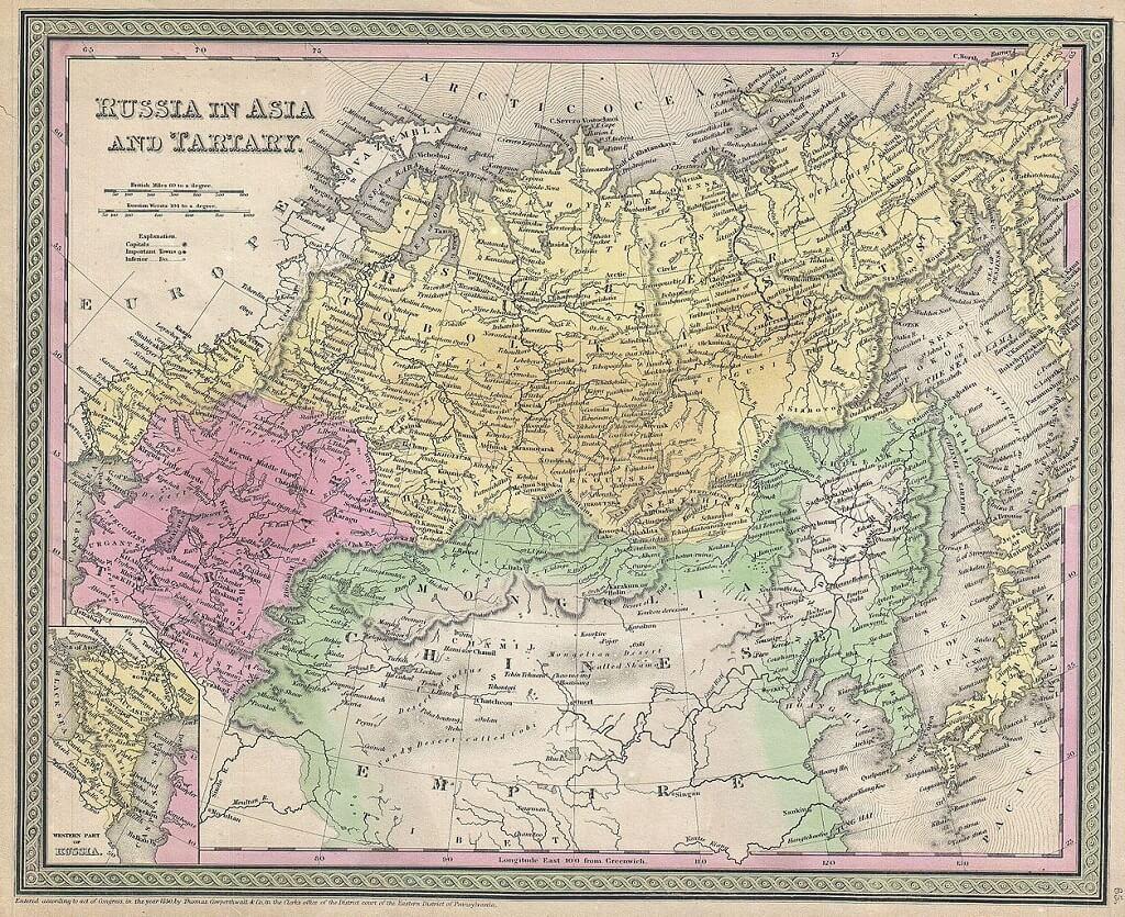 Mappa del 1853, Urali come confine