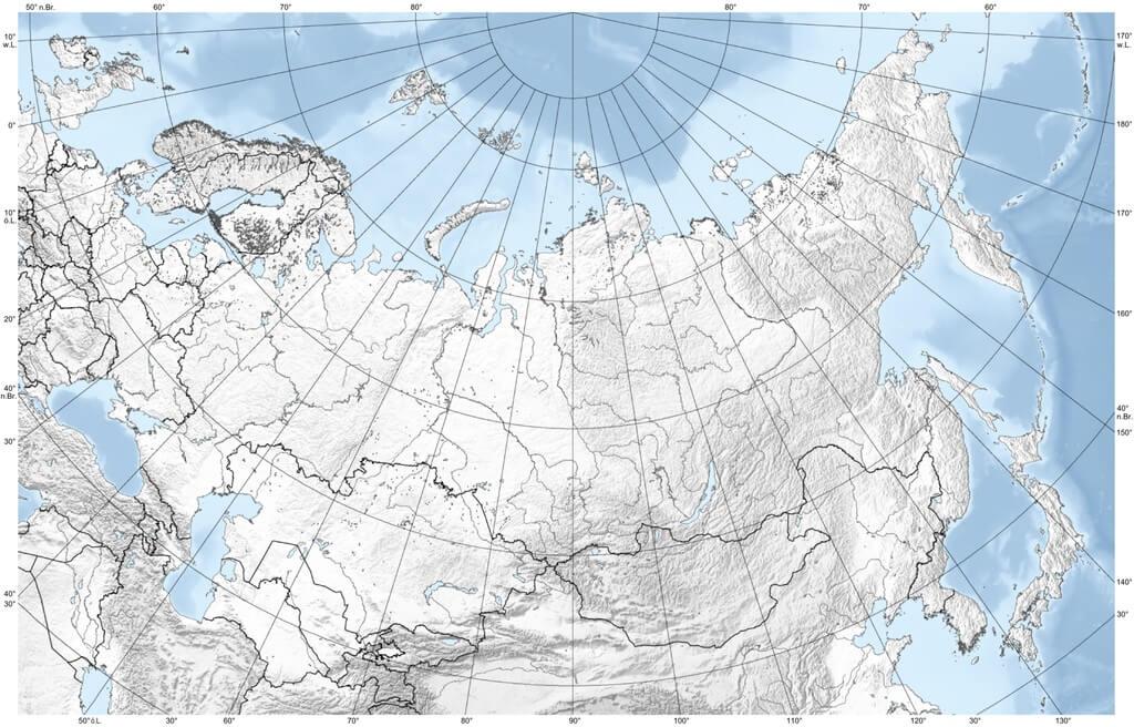 Mappa degli Urali nel contesto dell'Eurasia