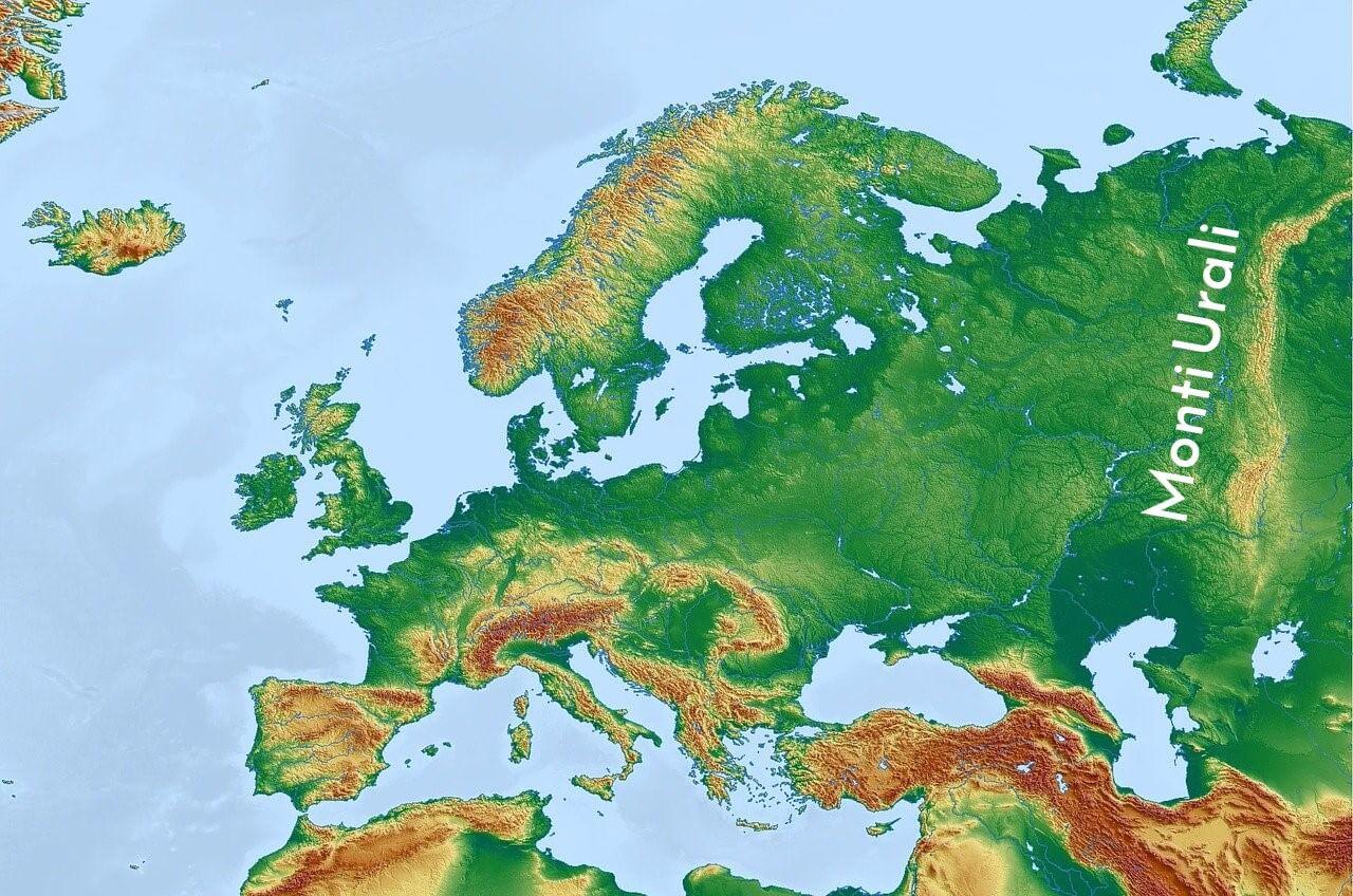 Mappa dell'Europa con i monti Urali