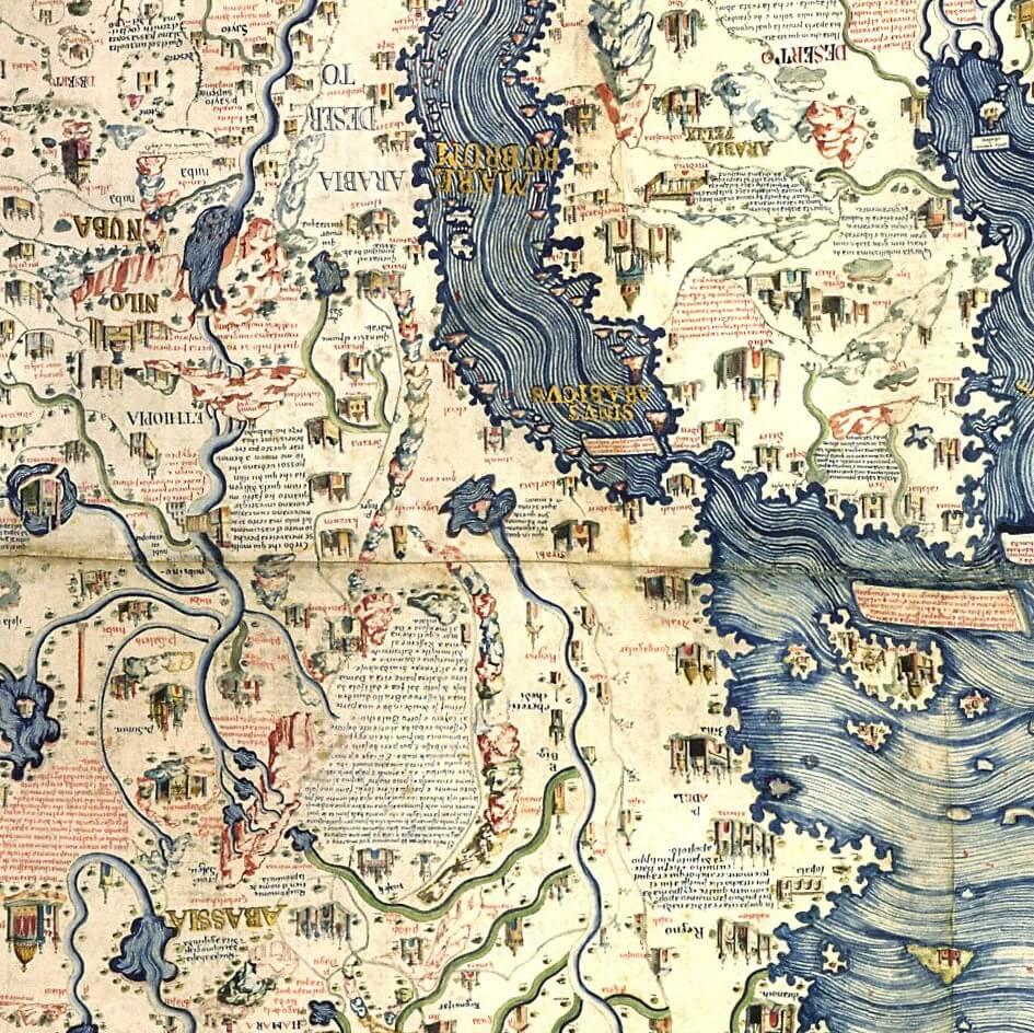 Mappa di Fra Mauro: particolare dell'Etiopia e coste dell'Africa Orientale (ruotato di 180°)
