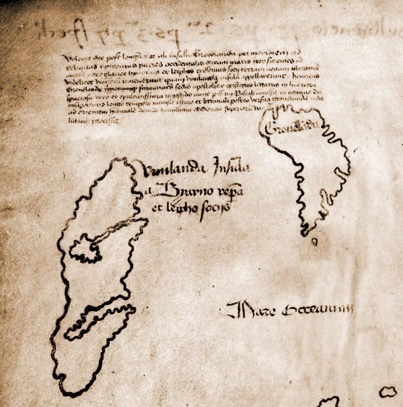 Particolare del margine superiore sinistro della mappa con la scritta Vinilandia Insula