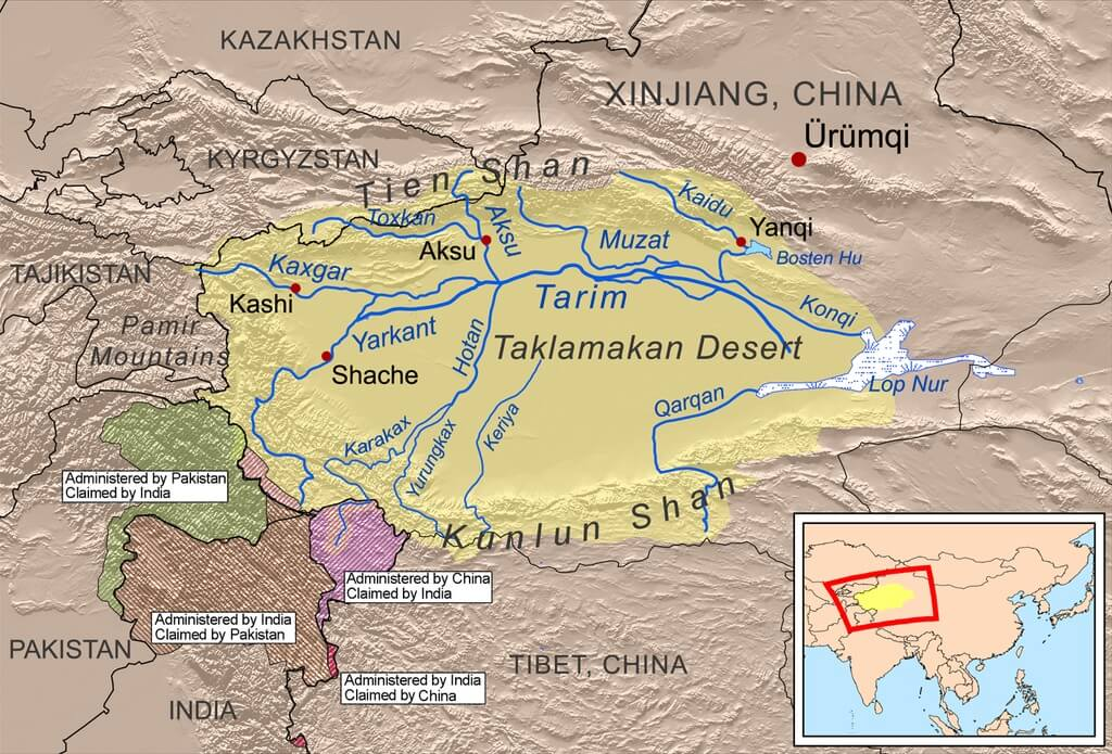 Mappa del bacino del Tarim