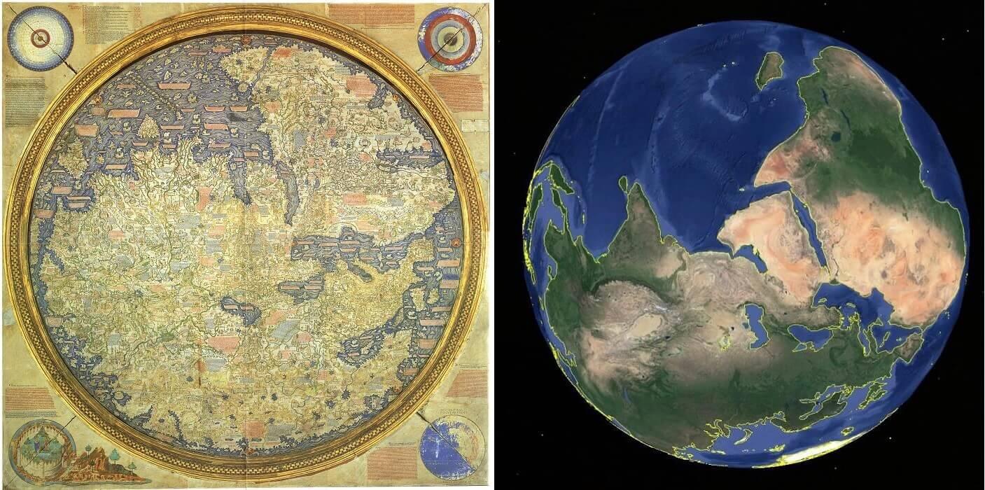 Un confronto tra la mappa di Fra Mauro e un'immagine ripresa da Google Earth (asse sud/nord)