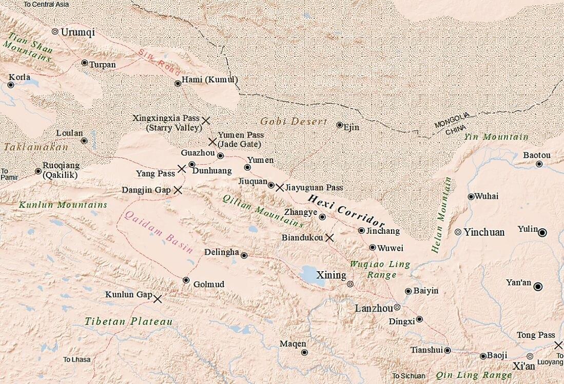 Mappa del corridoio di Hexi (o del Gansu)