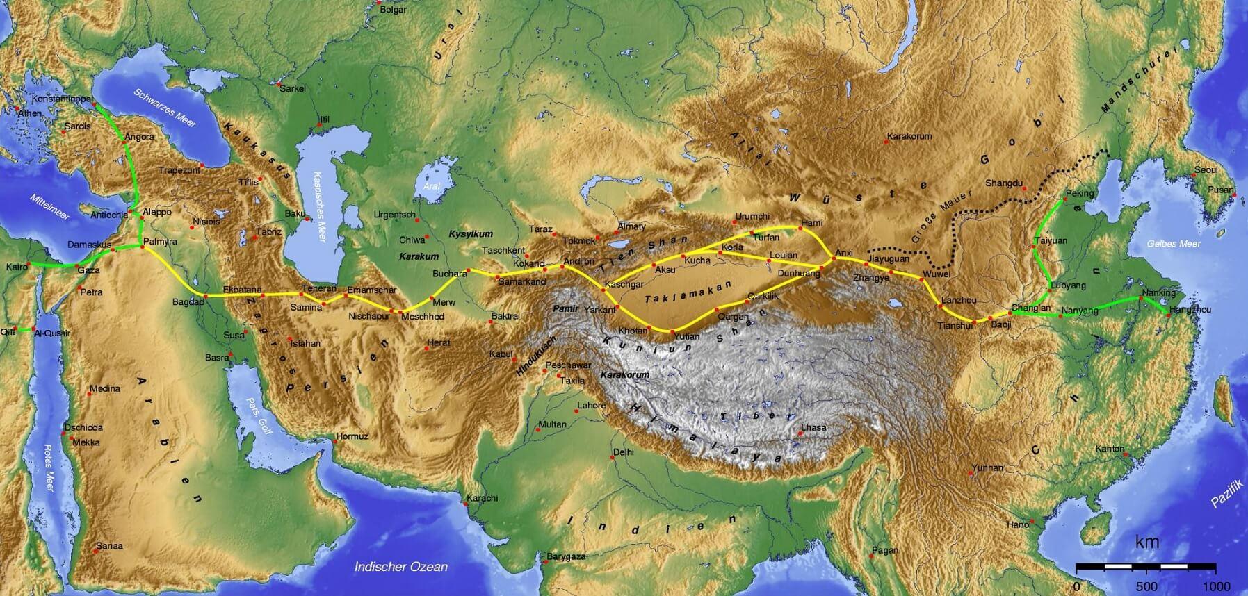 Mappa della Via della Seta