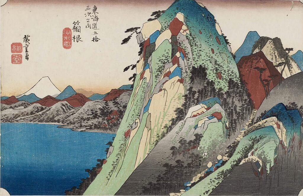 Hakone (High rocks by a lake), la decima delle Cinquantatré stazioni del Tōkaidō di Hiroshige