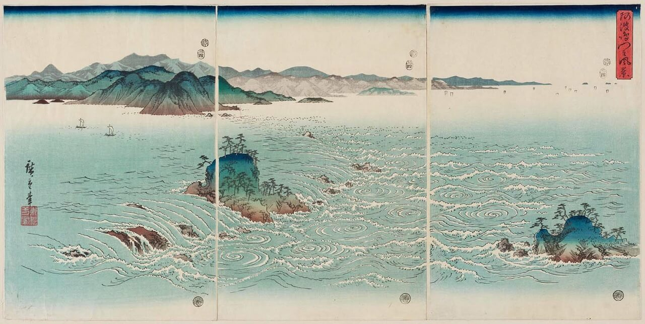 Vortice di Naruto, stampa ukiyo-e di Hiroshige