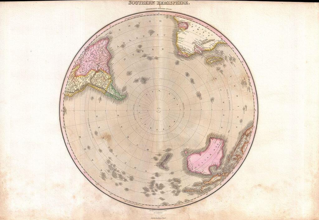 Mappa dell'emisfero australe realizzata nel 1818 da J. Pinkerton