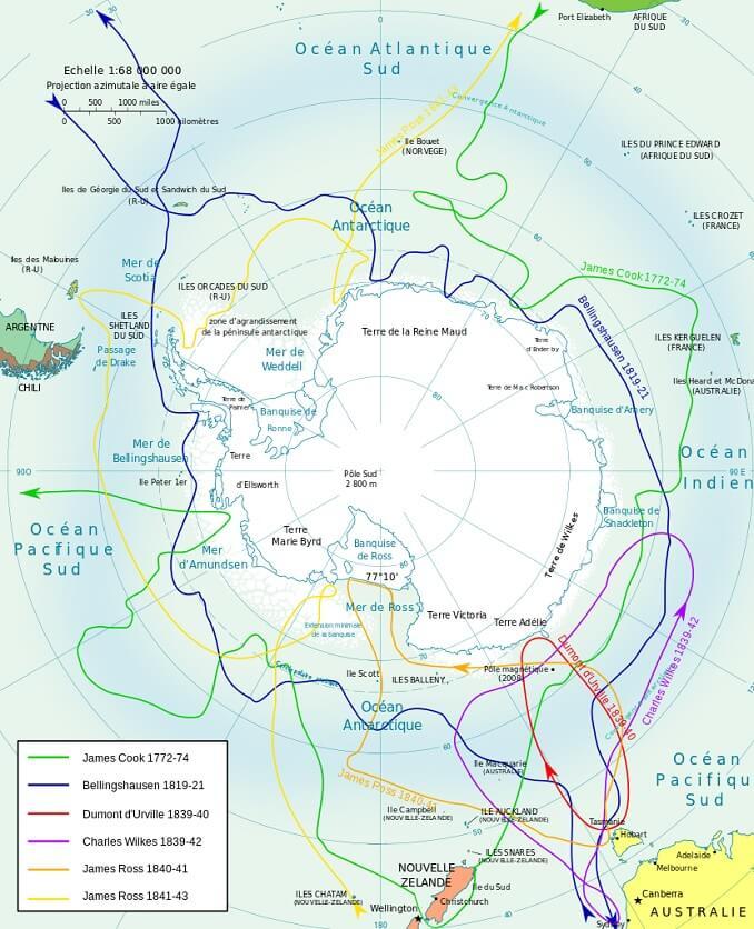 Mappa delle spedizioni in Antartide di Cook, Bellingshausen, Dumont d' Urville, Wilkes, Ross