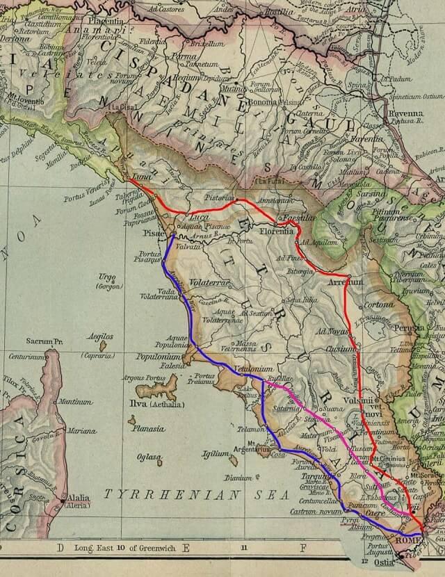 Mappa della Via Clodia, che passava nei pressi dell'Eremo di Poggio Conte