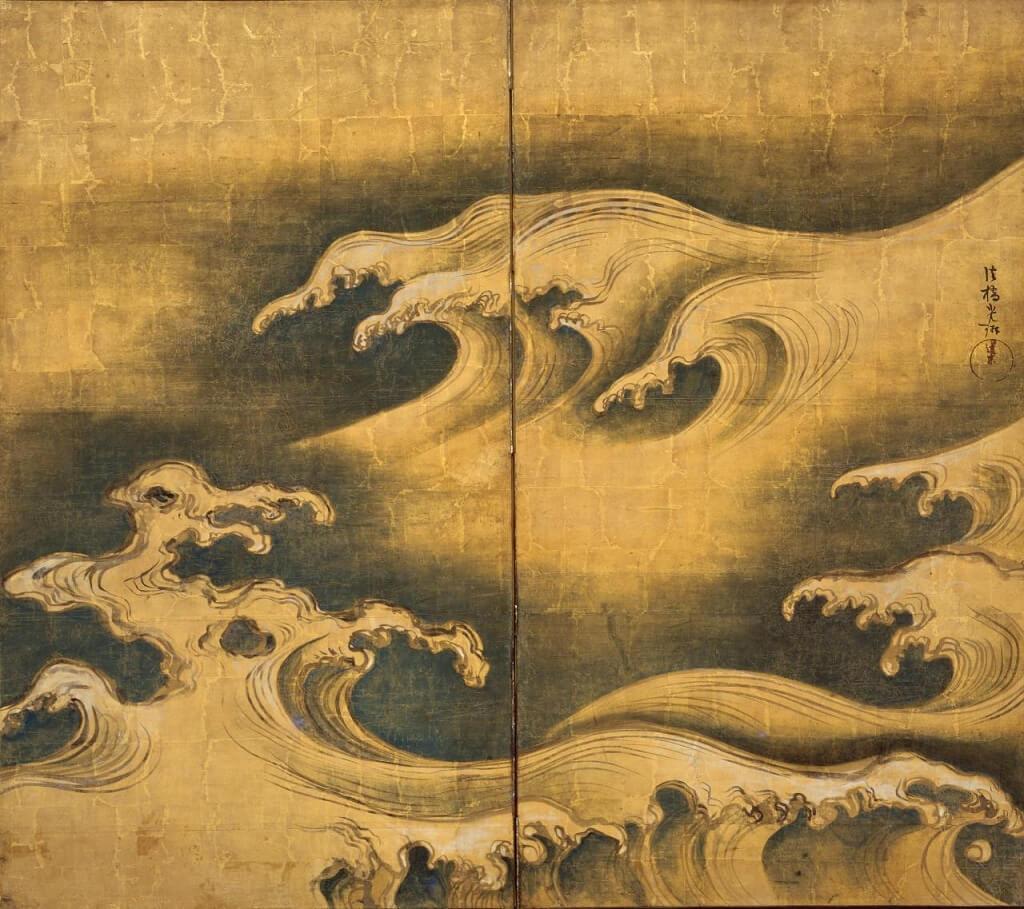 Onde su paravento di Ogata Kōrin, da cui si isoirò Hokusai