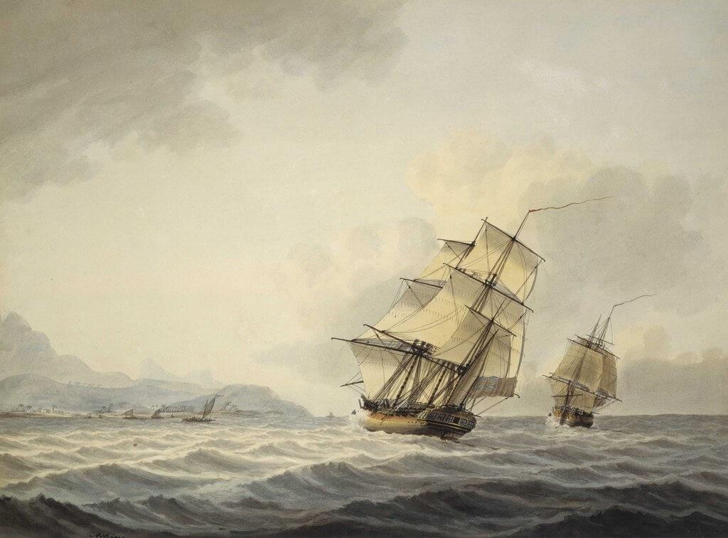 Le navi Discovery e Resolution, con cui James Cook si spinse nel punto più a sud mai toccato