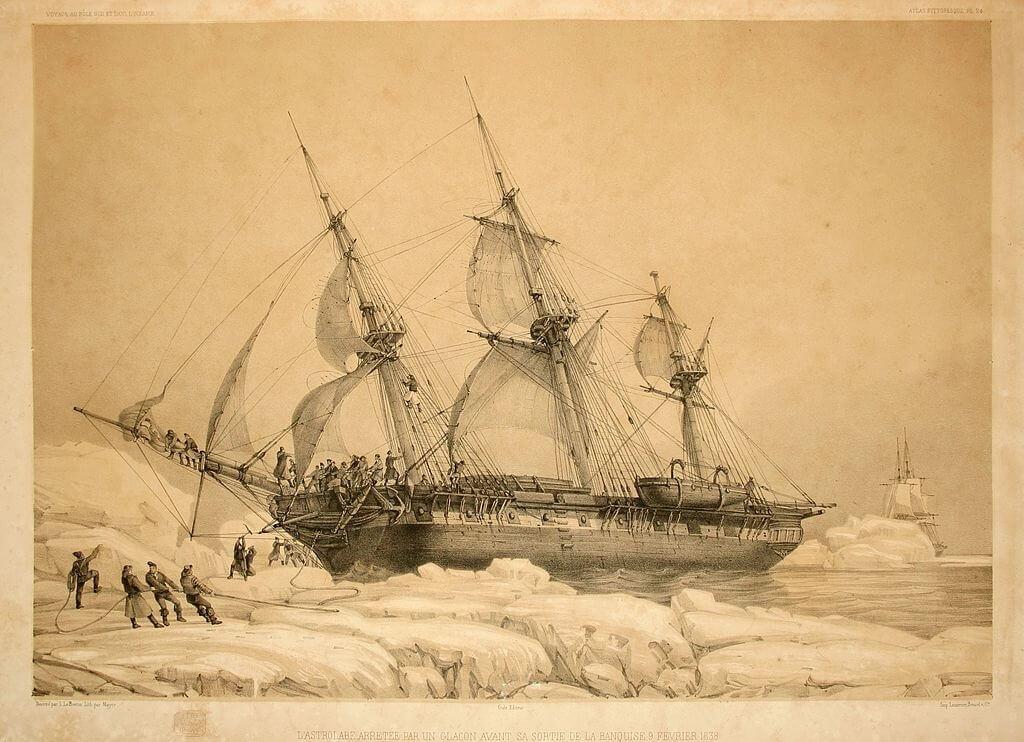 L'Astrolabe, nave della spedizione di Jules Dumont d'Urville, bloccata da un iceberg