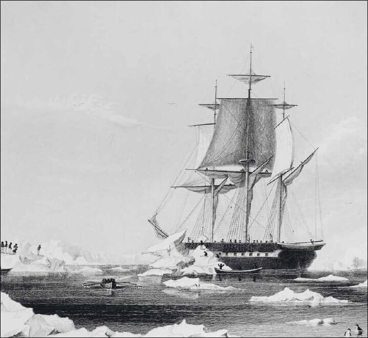 Una nave della spedizione Wilkes in prossimità delle coste antartiche