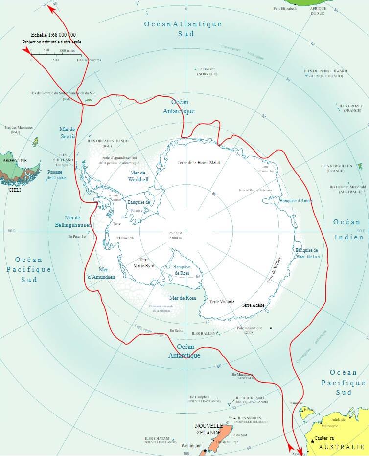 Mappa delle spedizioni in Antartide di Bellingshausen : 1819-21