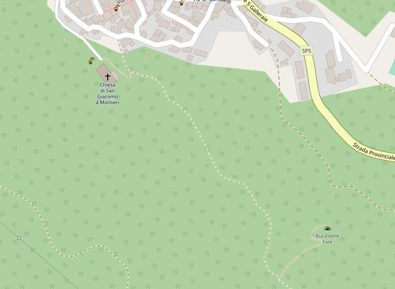 Mappa di Montieri che mostra il percorso dalla chiesa di San Giacomo alla buca delle fate