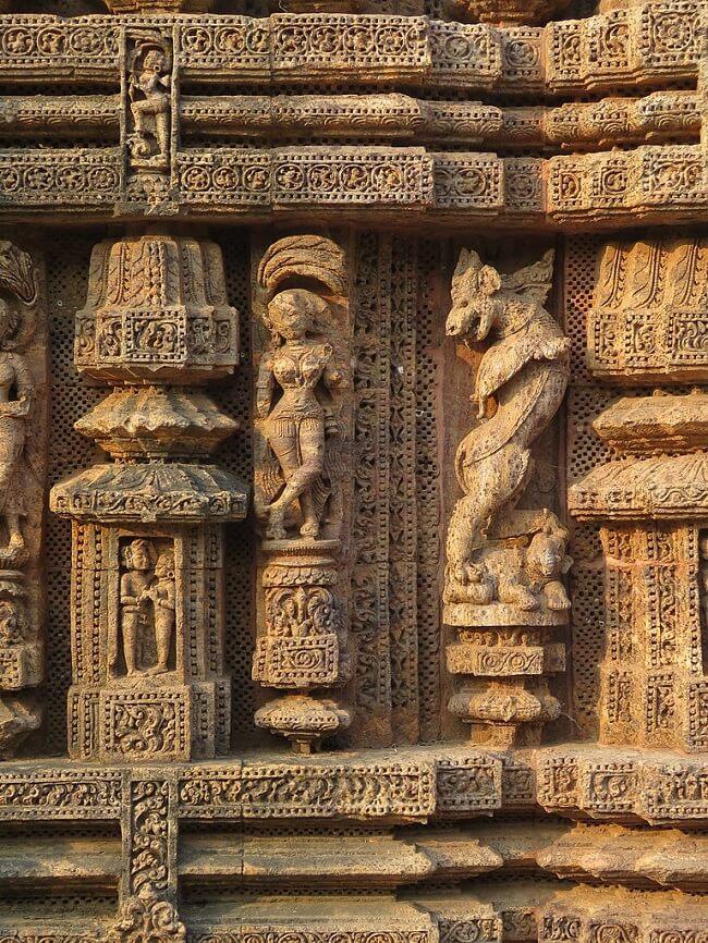 Dettagli del tempio del sole di Konarak