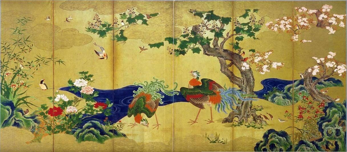 Fiori e uccelli delle quattro stagioni, opera di Kanō Eitoku (XVI secolo)