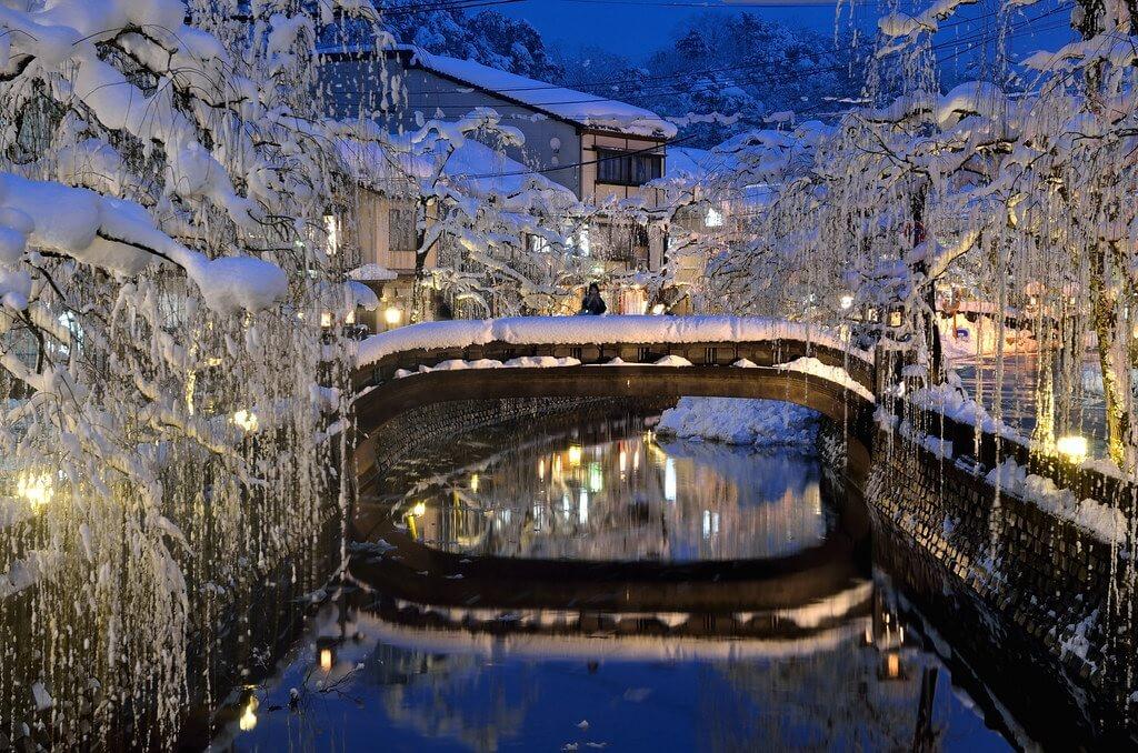 La cittadina termale di Kinosaki in inverno