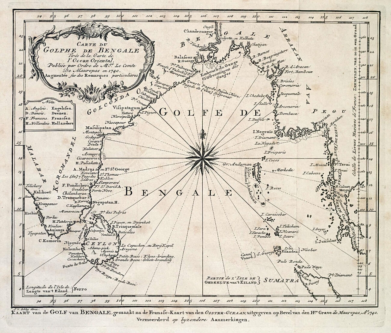 Golfo del Bengala in una carta nautica del XVIII secolo