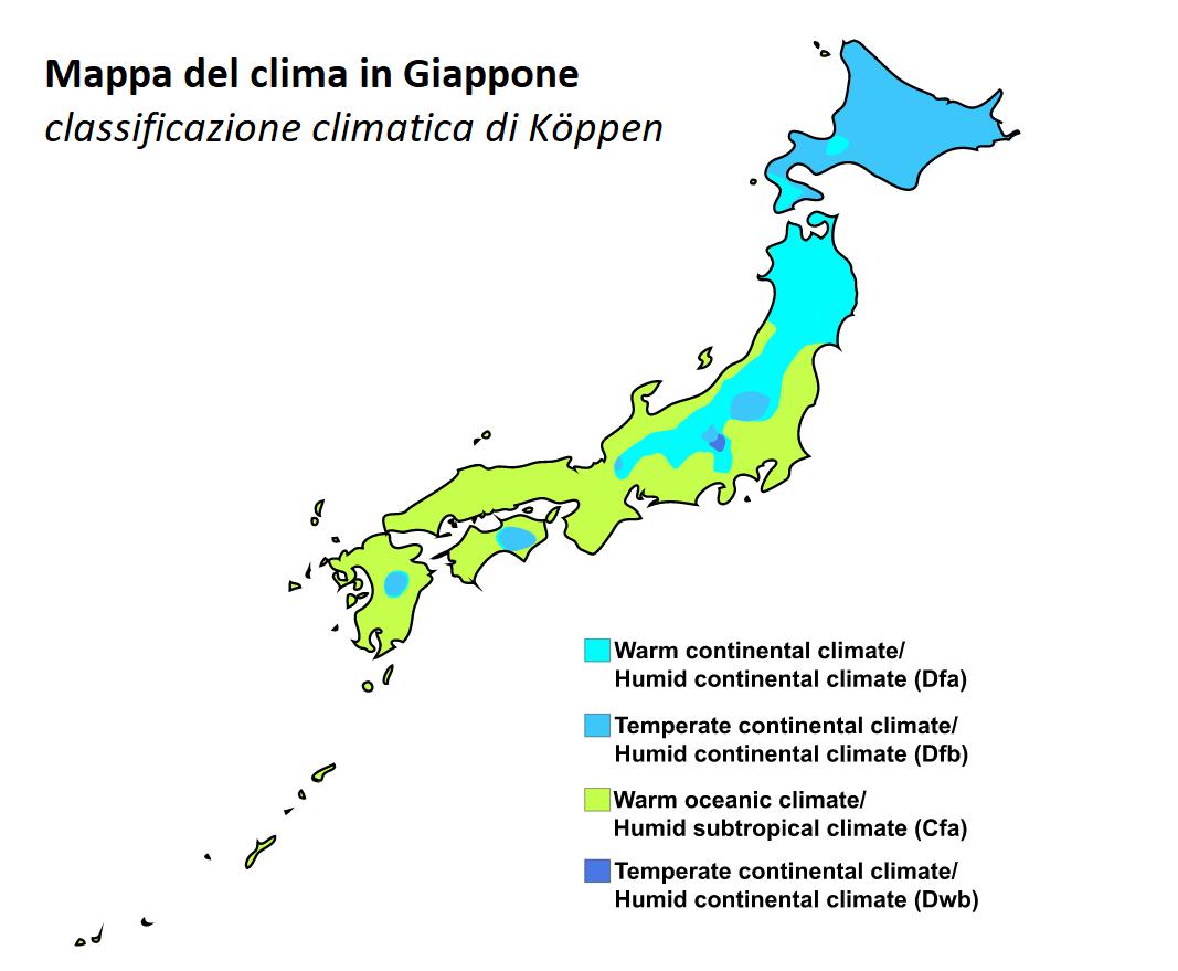 Mappa del clima giapponese, secondo la classificazione climatica di Köppen
