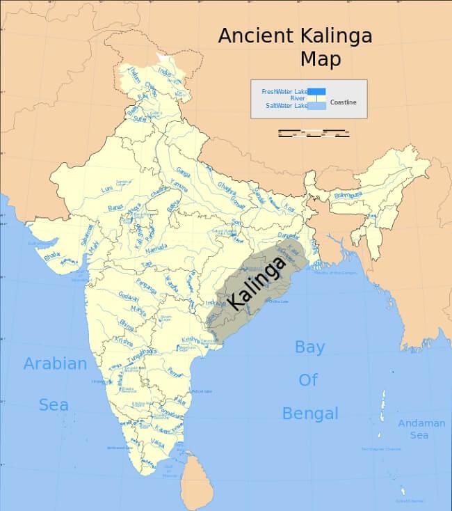 Mappa del regno Kalinga, durante il quale fu costruito il tempio del Sole di Konarak