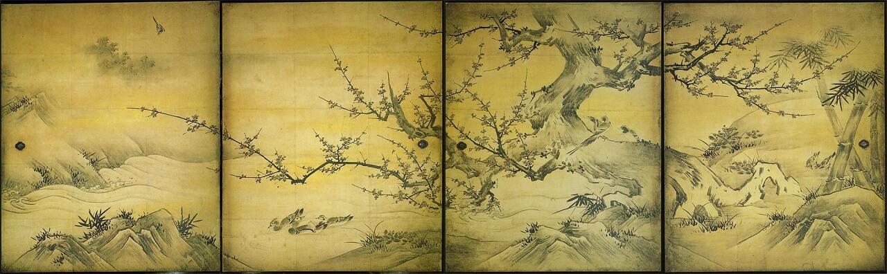 Uccelli e fiori delle quattro stagioni, opera di Kanō Eitoku e Kanō Shōe