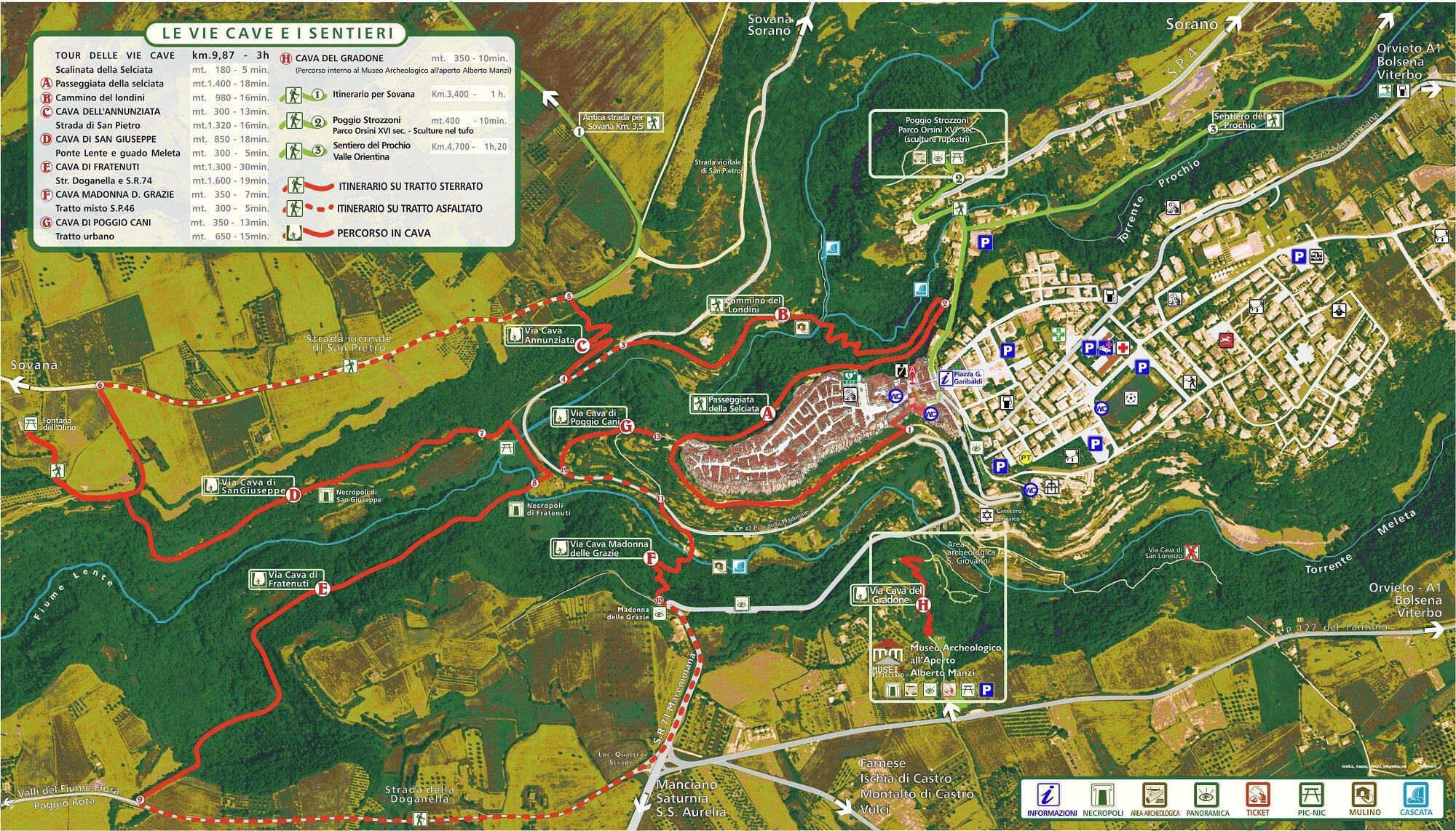 Mappa con tour delle Vie Cave di Pitigliano