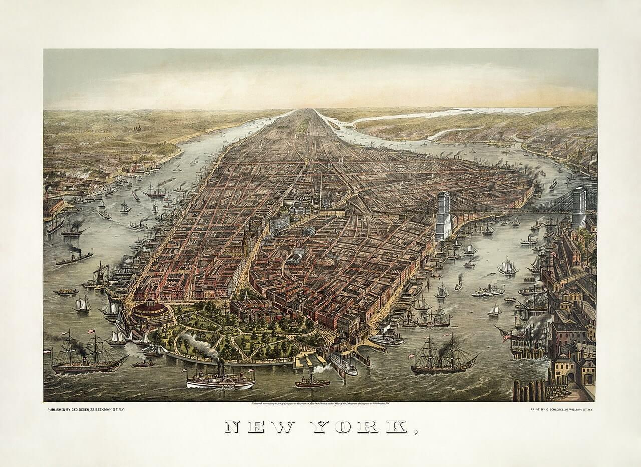 Litografia di New York, 1873