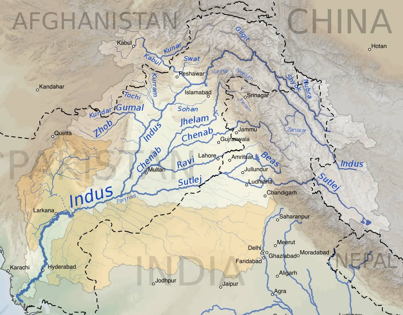 Mappa del fiume Indo e dei suoi affluenti
