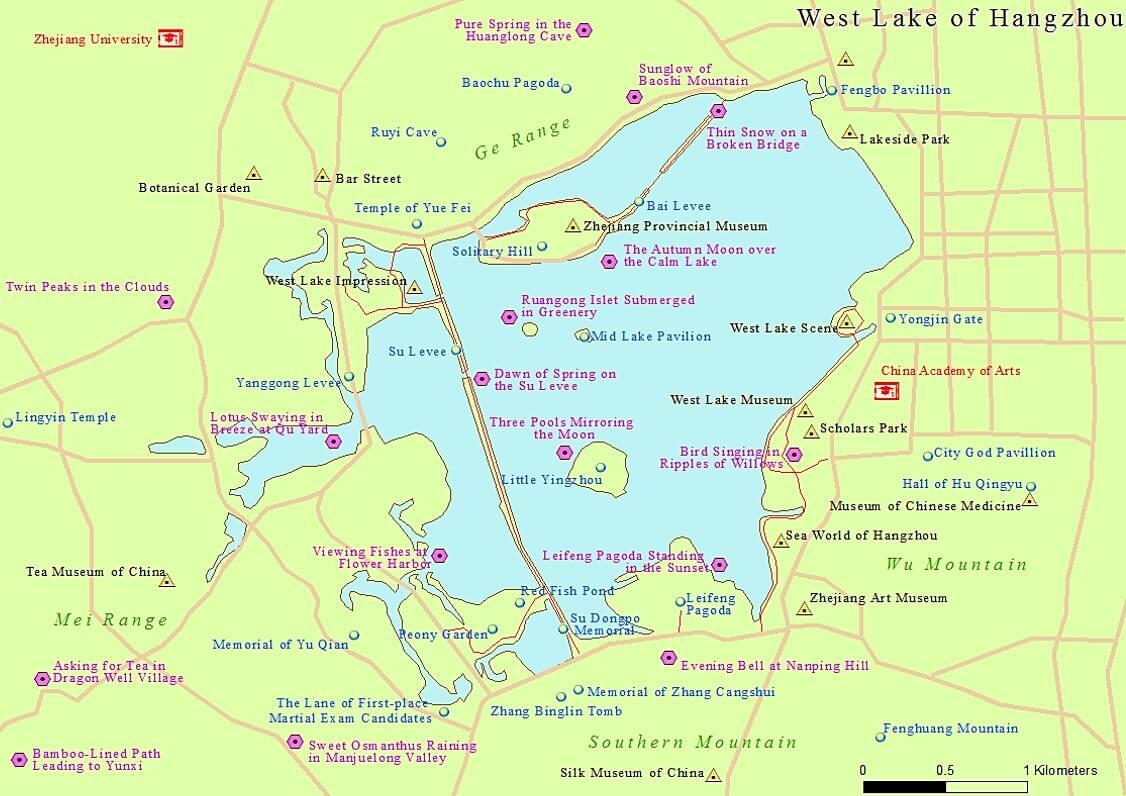 Mappa del lago dell'Ovest, Hangzhou