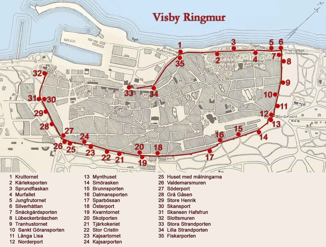 Mappa turistica delle mura di Visby (Gotland)