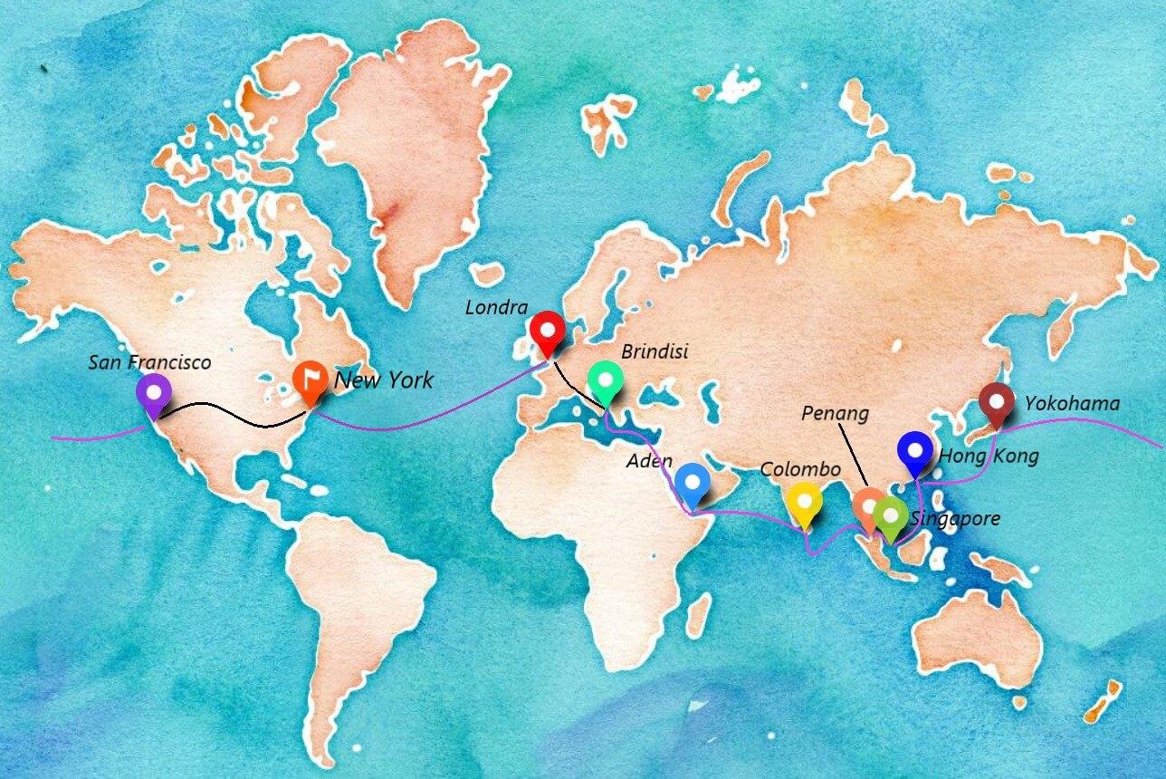 Mappa del viaggio di Nellie Bly