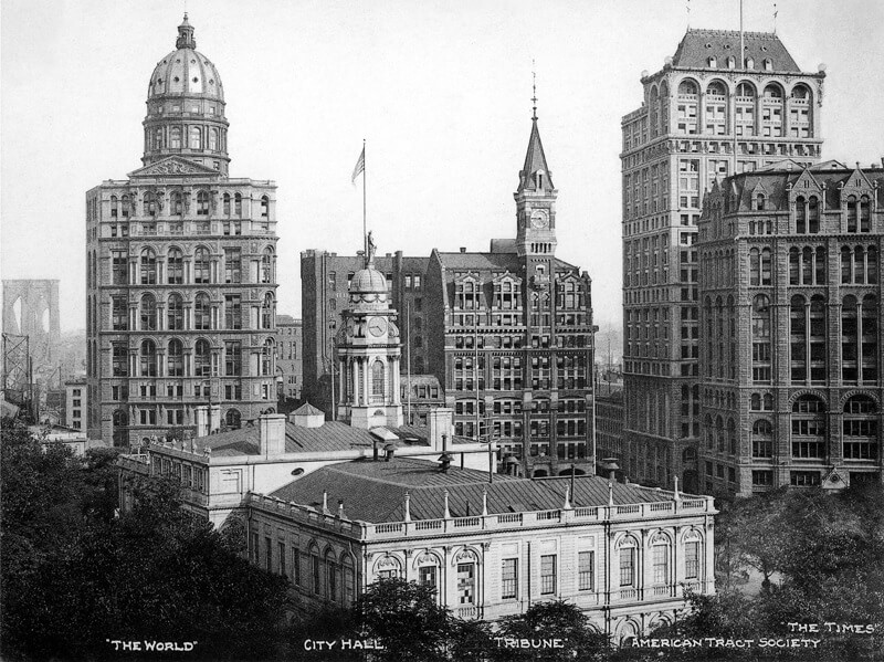 La sede del World di New York. Foto del 1906.