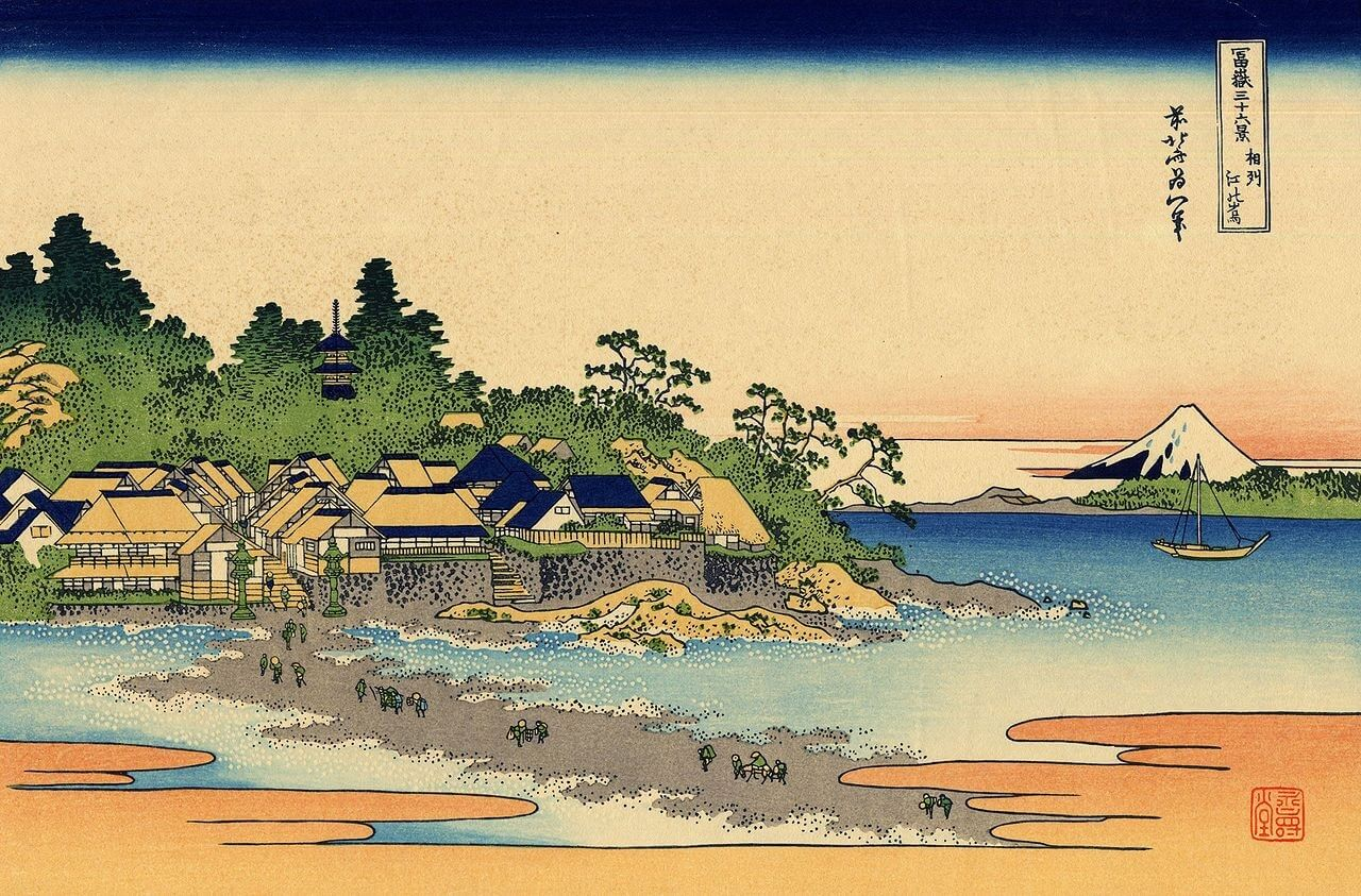 L'isola di Enoshima in una stampa di Katsushika Hokusai
